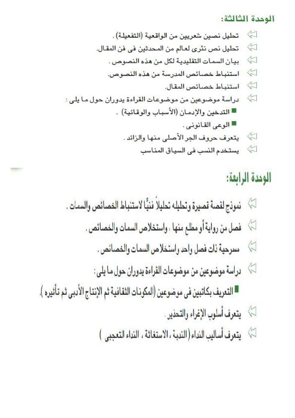 بالصور منهج اللغة العربية الجديد 2016 للصف الثالث الثانوي