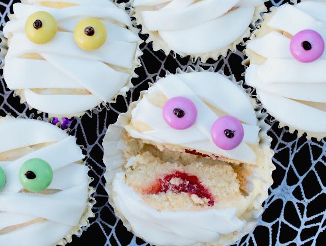 surprise inside halloween Mummy Cupcakes