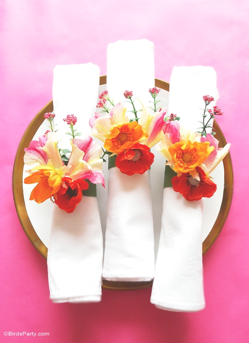 Diy Floral Napkin Rings Party Ideas Party Printables Blog
