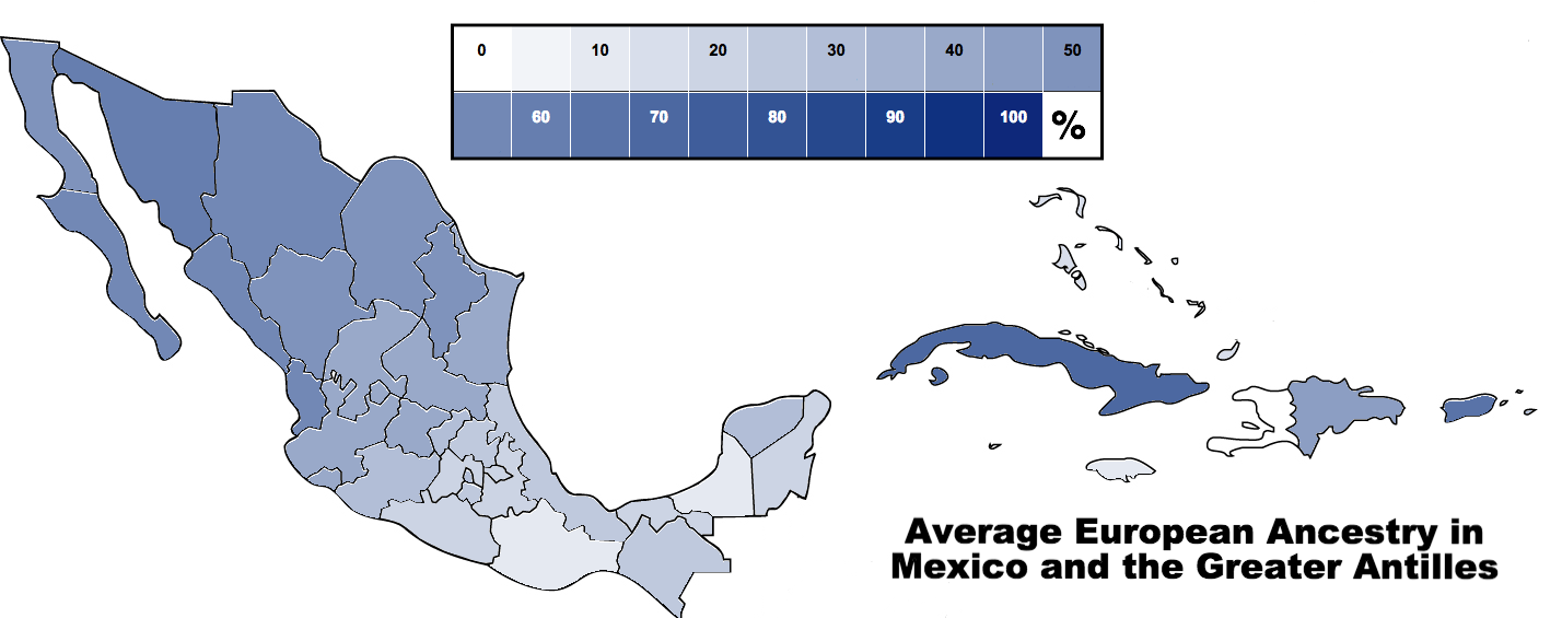 Average % European Ancestry in Mexican States & the Greater Antilles