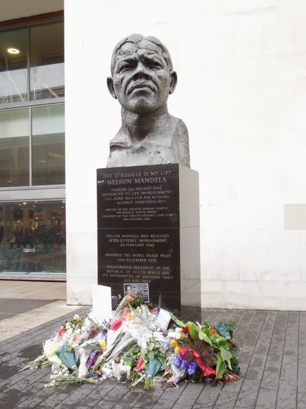 Floral tributes Nelson Mandela London Southbank