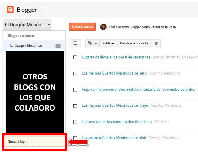 Escritorio de Blogger - Tutorial Blogger