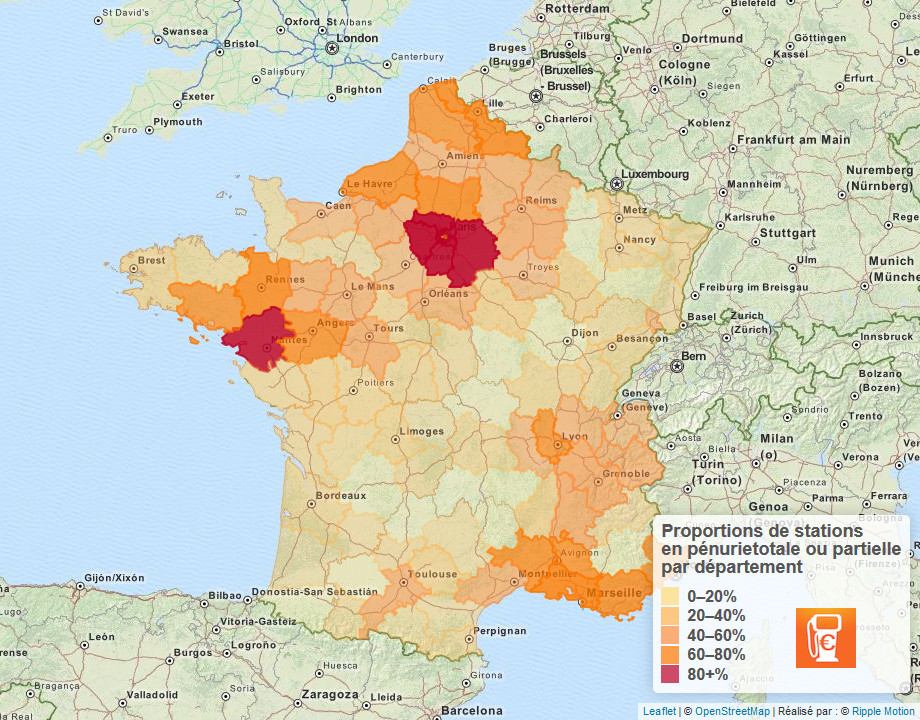 Proportion of fuel stations which are partially or fully empty in France