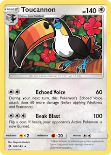 Toucannon Sun and Moon Pokemon Card