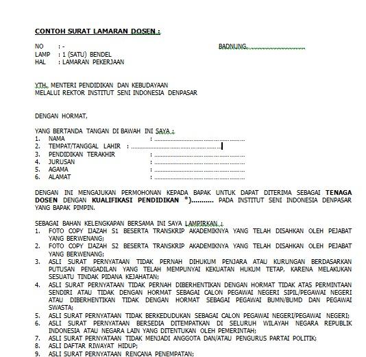 Contoh Surat Lamaran Kerja Dosen Lengkap Docx Size26kb