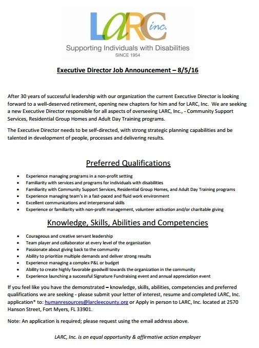 FGCU Graduate Programs In Counseling LARC Executive Director Job   New Job  Announcement Letter