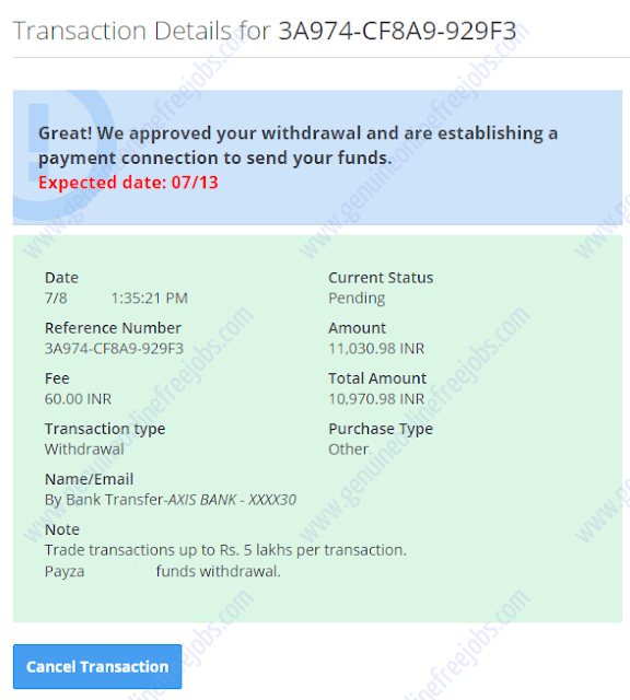 Transaction approved Payza team
