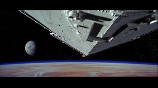 Star destoryer keeping up with Leia's Corellian corvette.