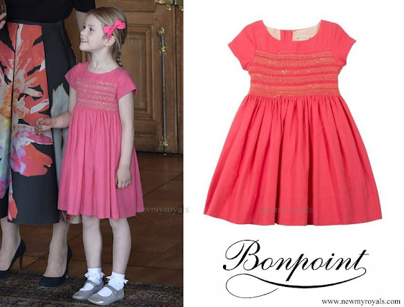 Princess Estelle wore Bonpoint Classic Smocked Wool Cotton Dress
