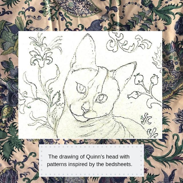 Drawing of Quiinn's head by Minaz Jantz