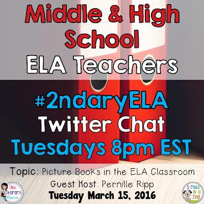 Join secondary English Language Arts teachers Tuesday evenings at 8 pm EST on Twitter. This week's chat will focus on using picture books in the ELA classroom.