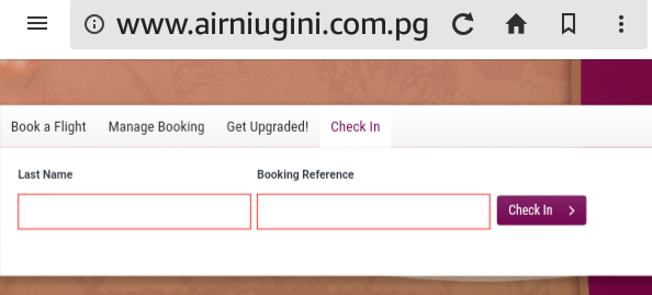 PNG Air Niugini Internet check in