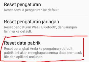 Reset data pabrik android