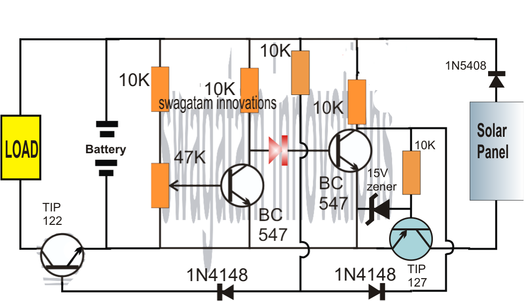 Solar Charger Circuit Using Transistors With Automatic Cut
