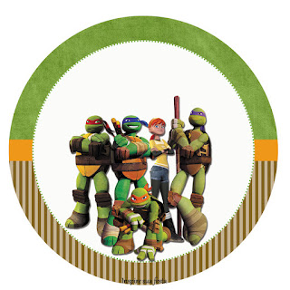 Toppers o Etiquetas de Tortugas Ninja para Imprimir Gratis.