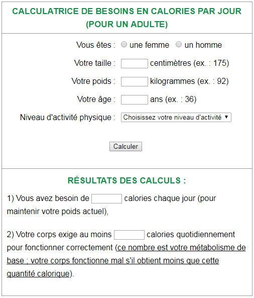 Calculateur de calories