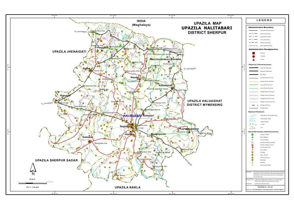 Nalitabari Upazila Road Map Sherpur District Bangladesh