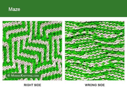 Mosaic Knitting - Two color Knitting stitch pattern. Right side vs wrong side of the Maze stitch.