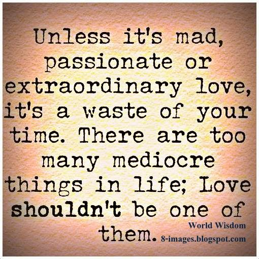 Unless Its Mad Passionate Or Extraordinary Love Its A Waste Of