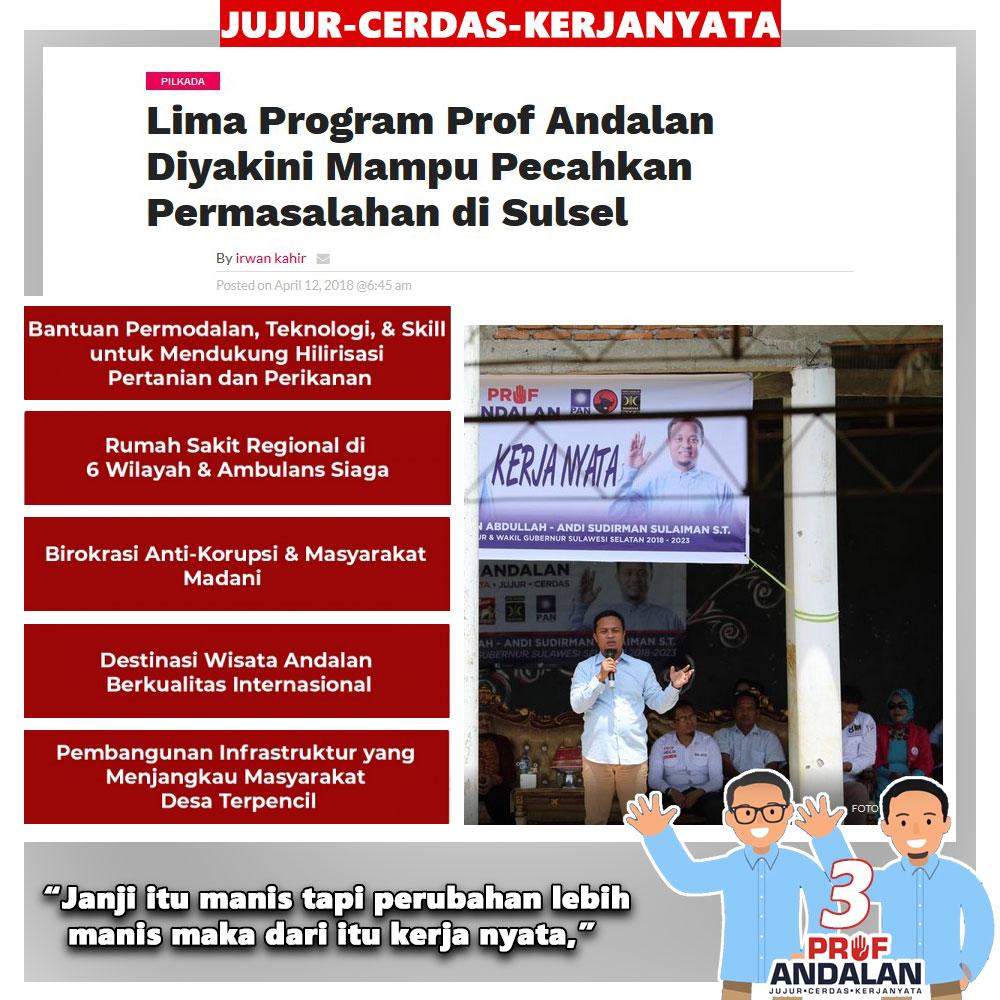 5 Program Prof Andalan Diyakini Mampu Mengatasi Permasalahan Di Sulawesi Selatan