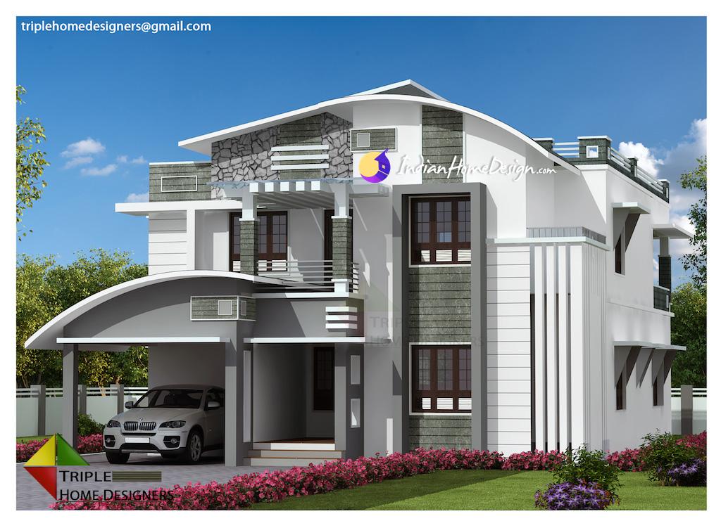 3195 sqft 4 Bedroom Luxury villa design by Triple Home Designers