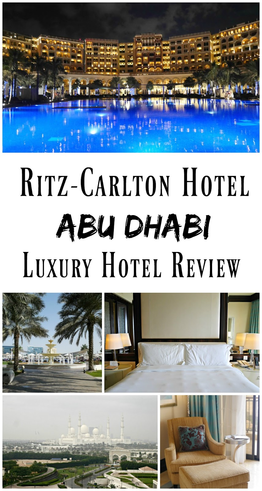 PIN FOR LATER: Ritz-Carlton Abu Dhabi Luxury Hotel Review. A stunning resort just five minutes away from the Sheikh Zayed Mosque. There are plenty of restaurants onsite, and the hotel is ideal for both families and couples!