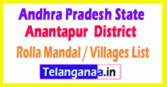 Rolla Mandal Villages Codes Anantapur District Andhra Pradesh State India