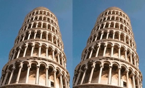 Yan yana duran iki pizza kulesinin aynı olmasına rağmen sağdakinin daha eğik görünmesi