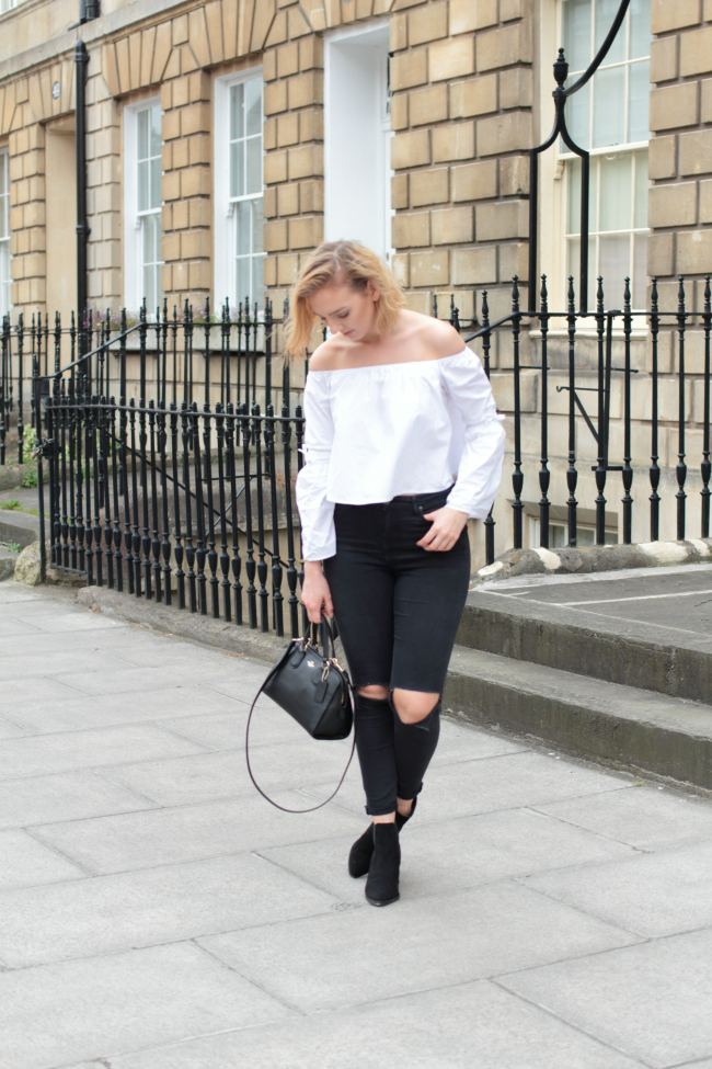OOTD, Style, Fashion, White, bardot, top, black, ripped, jeans, suede, boots, office, shoes, topshop, missguided, coach, nolita