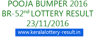 Kerala Pooja Bumper 2016, Lottery result 23-11-2016, Puja bumper 2016, Kerala lottery result November 2016, Kerala Pooja Bumper BR-52, Lottery result 2016