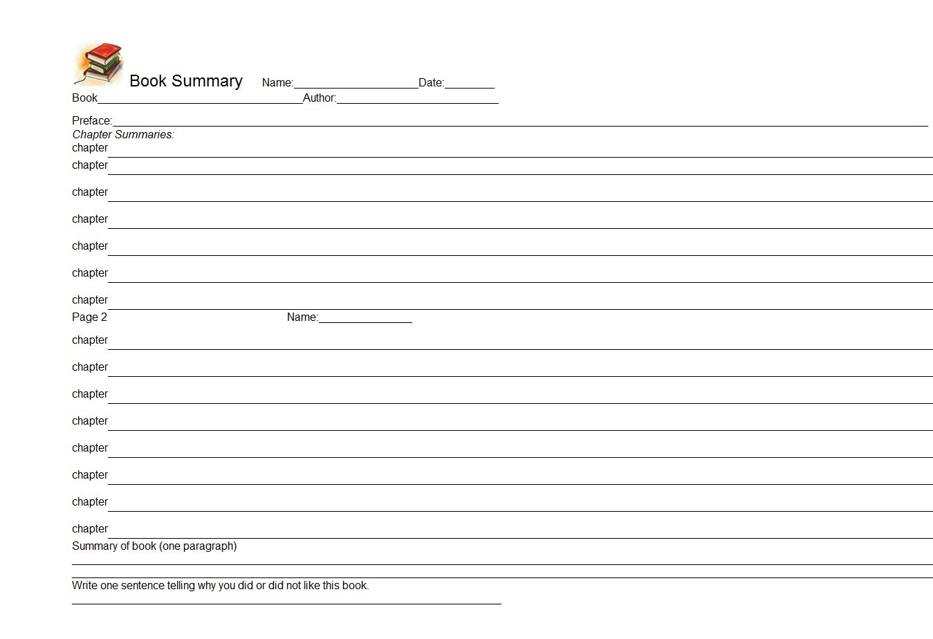 novel notes template - book summary word template template sample