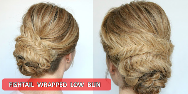 Fishtail Wrapped Low Bun Hairstyle, Full Tutorial With Easy Instructions!