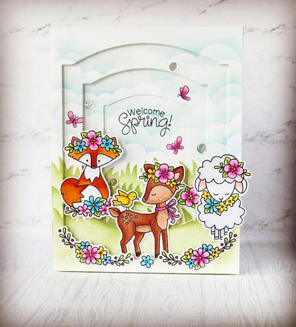 Fan Feature Week - Day 4 |  Card featuring Woodland Spring Stamp Set by Newton's Nook Designs #newtonsnook #handmade