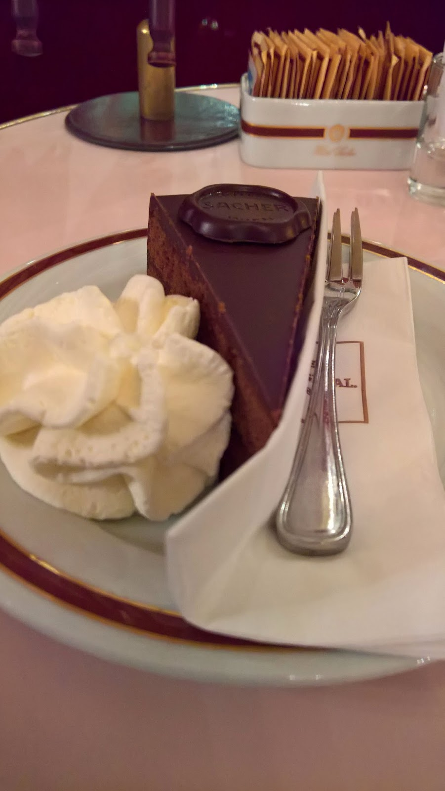 Mallaspulla matkailee Cafe Sacher sacher stube Wien Itävalta Sacherkakku