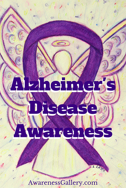 Alzheimer's Disease Purple Ribbon Color Awareness Angel Art Photo Image
