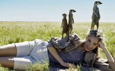 Frau liegt auf Wiese mit Erdmännchen witzige Kleintier Bilder