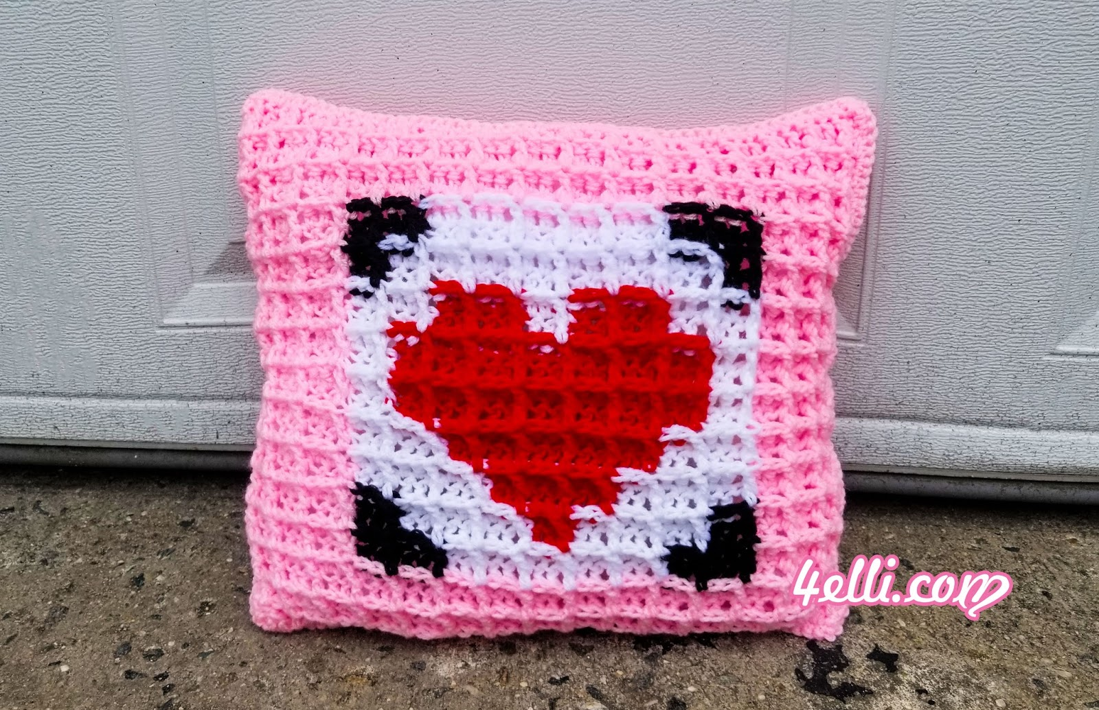 4Elli.com : Waffle Stitch Graphing - Pillow for Valentine\'s Day