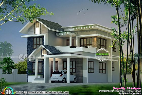 Modern mixed roof Kerala home design