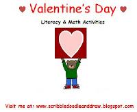 Valentine's day literacy and math activities for kindergarten