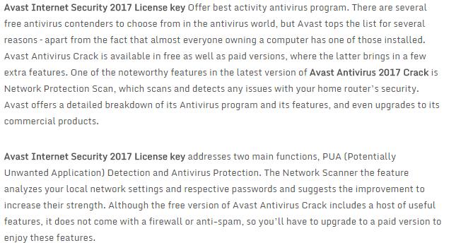 avast premier 2017 activation key