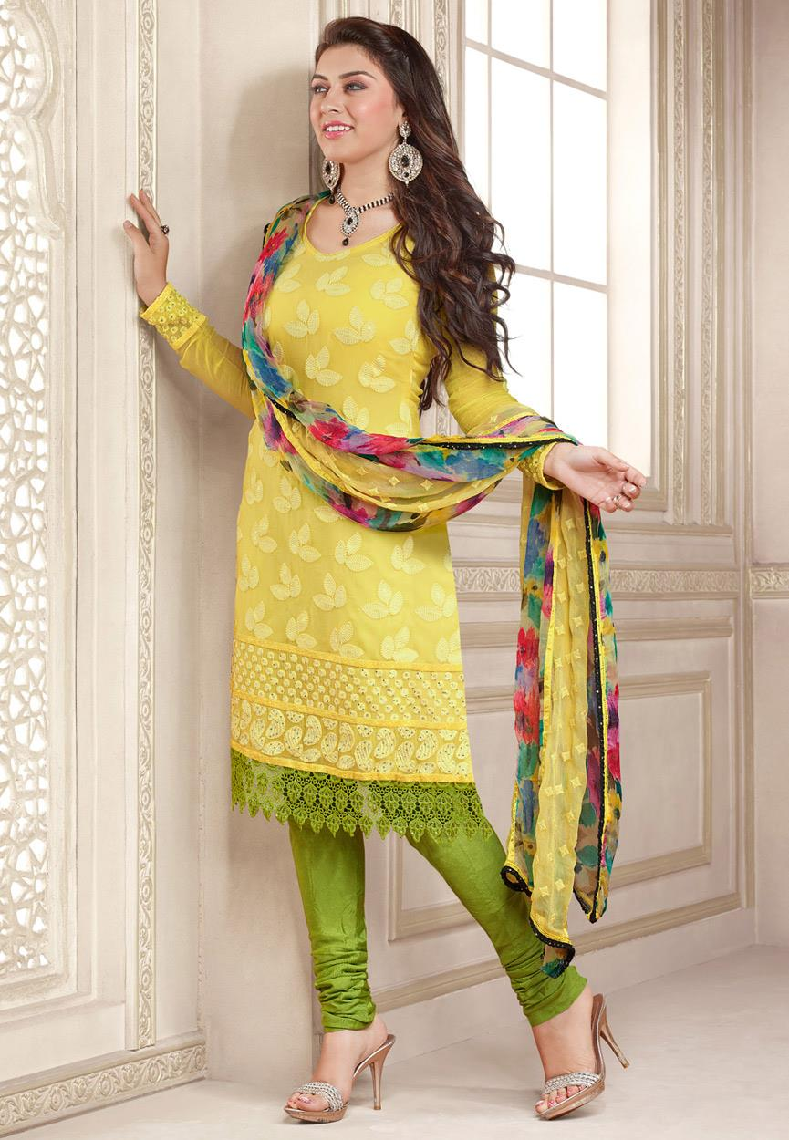 Hansika Photoshoot Photos In Yellow Colour Salwar Kameez