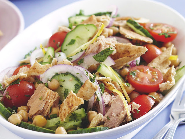 Lebanese tuna salad in a serving dish