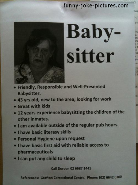 Hilarious Dubious Babysitter Advert Photo Newspaper