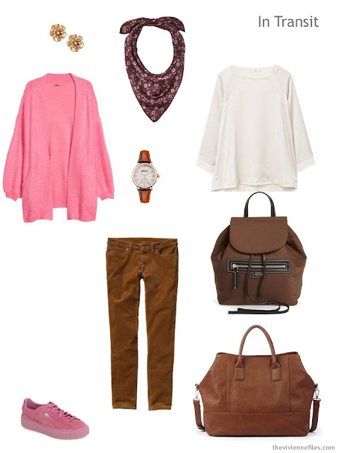 casual travel outfit in brown, pink and cream for cool weather