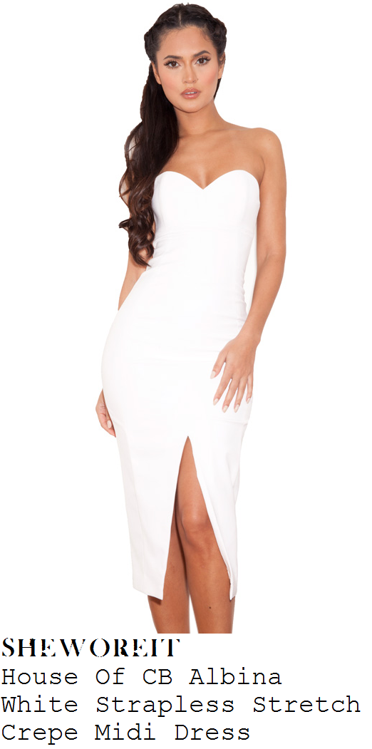 dd6a4ade7273 Rumer Willis' House Of CB Albina Bright White Strapless Sweetheart Neckline  Stretch Crepe Bodycon Pencil Midi Dress With Thigh High Centre Split To  Front