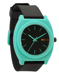 wristwatch - black with aqua trim