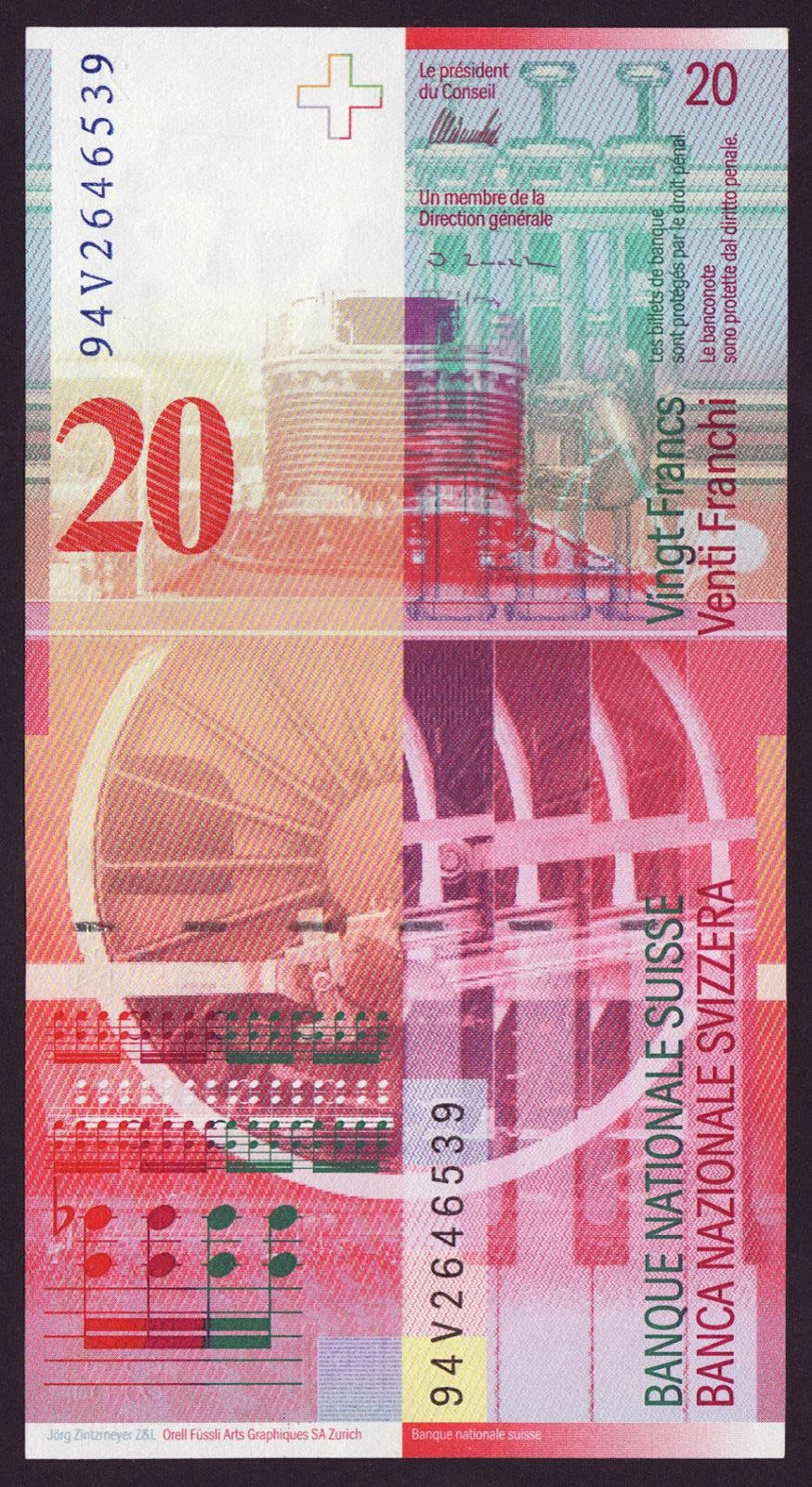 Switzerland Currency 20 Swiss Francs