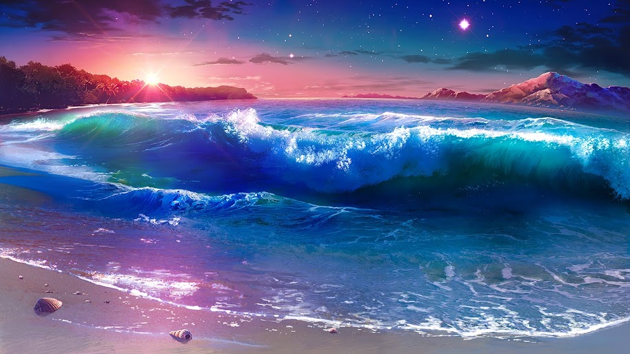 Beach Waves Sunset Scenery Anime 4k Wallpaper 121
