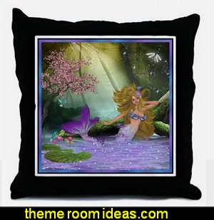 Merrow Mermaid Throw Pillow underwater bedroom ideas - under the sea theme bedrooms - mermaid theme bedrooms - sea life bedrooms - Little mermaid princess Ariel - Sponge Bob theme bedrooms - mermaid bedding - Disney's little mermaid - clamshell bed - mermaid murals - mermaid wall decal stickers -