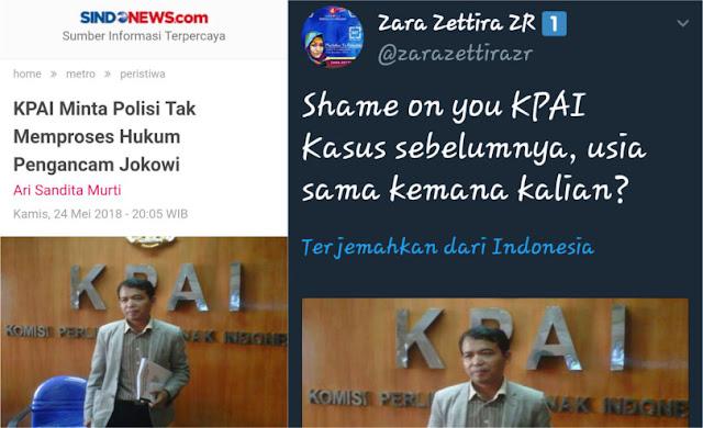 "Minta Polisi Tak Memproses Hukum Pengancam Jokowi, KPAI ""Diskakmat"" Zara Zettira"